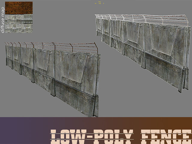 Lowpoly fence 3d cgtrader for 3d fence