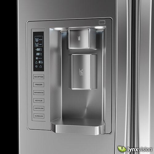 lg side by side refrigerator 3d model max obj fbx mtl. Black Bedroom Furniture Sets. Home Design Ideas