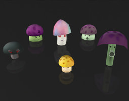 3D asset Creative Mushroom Plants Collection
