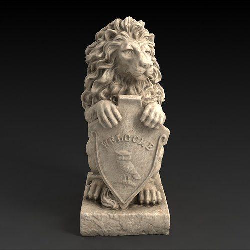 ... 3d Models Garden Statue Lion With Welcome Sign 3d Model Max Obj Mtl Stl  3 ...
