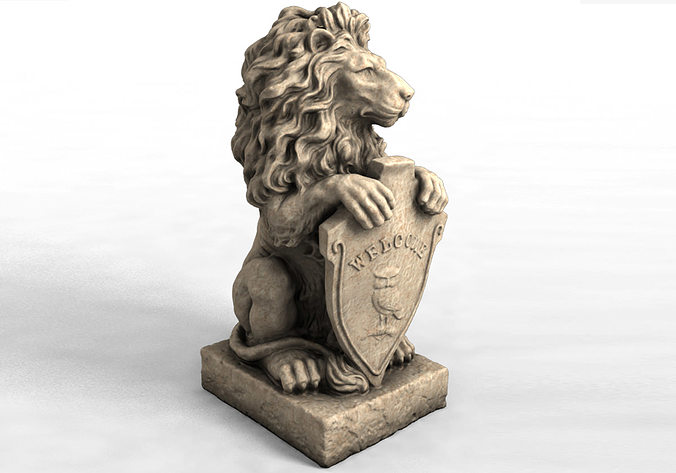 3d models garden statue lion with welcome sign 3d model max obj stl 1