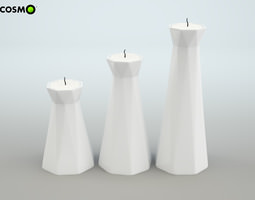 3d set of candlesticks with living trend candles