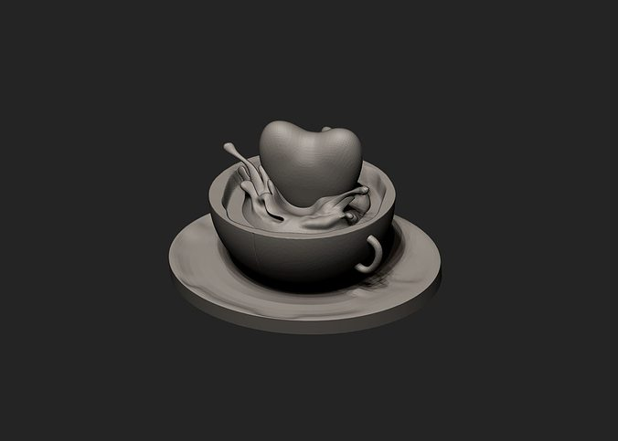 heart caffeine splash 3d model obj mtl stl 1