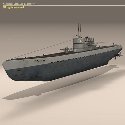 type ix u-boat submarine 3d model max obj 3ds fbx c4d dxf 2