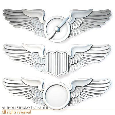 wings badges 3d model obj mtl 3ds c4d dxf 1
