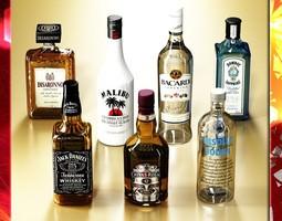 3d photorealistic high detailed 7 liquor bottles