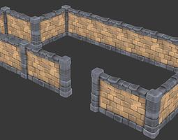 3D asset Modular Stone Wall