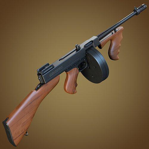ae2340037f86 Thompson submachine gun 3D model