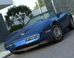 3D animated Chevrolet Corvette Convertible 1986