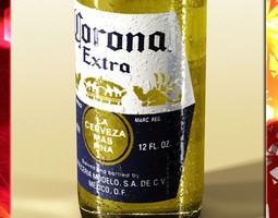 Corona Beer Bottle Coaster and Lemon 3D