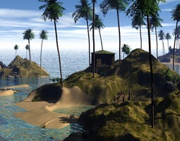 small tropical island 3d
