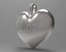 heart love pendant 3d model max obj stl