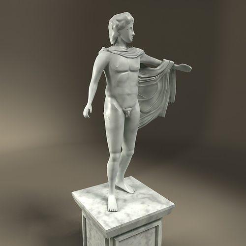 Greek Statue Apollo VR / AR / lowpoly  3D model