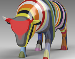 3d model porcelain multi-color cow sculpture