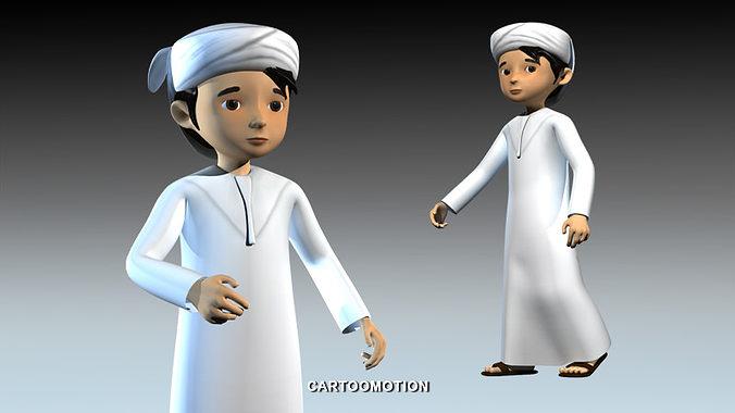 a boy from uae 3d model rigged max obj mtl fbx tga 1