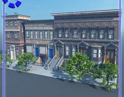 Brownstone Street Scene 1 for Vue 3D model