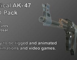 3d asset tactical ak-47 lod pack VR / AR ready PBR