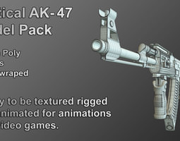 Tactical Ak-47 Model Only Pack 3D asset