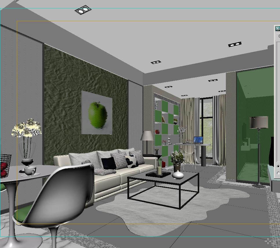Green Living Room 3d Model Max