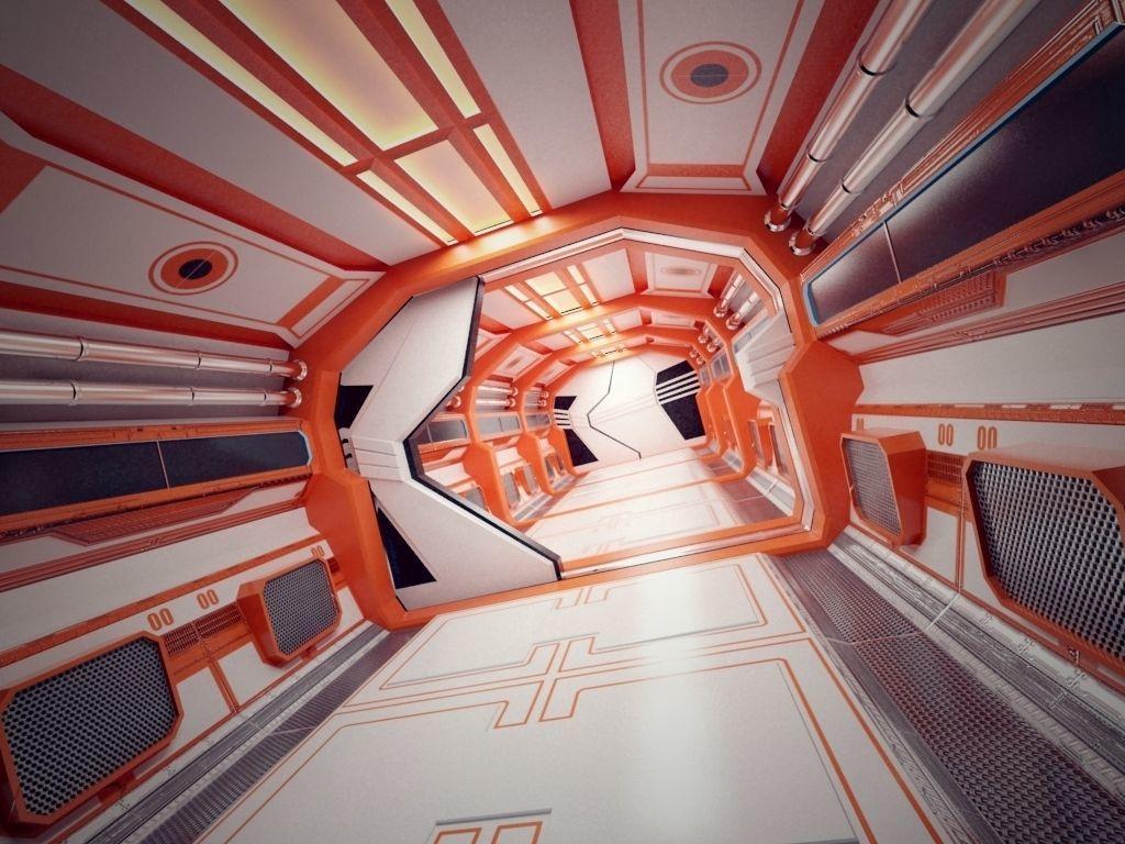 Modern Scifi Corridor 3d Modules with doors