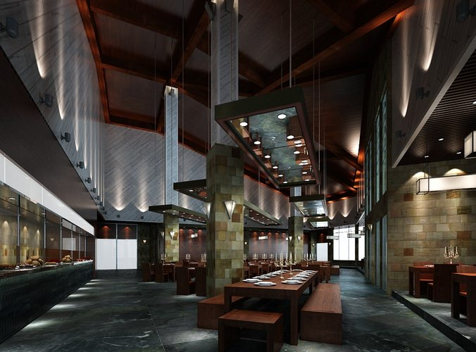 D model modern restaurant with set up tables cgtrader