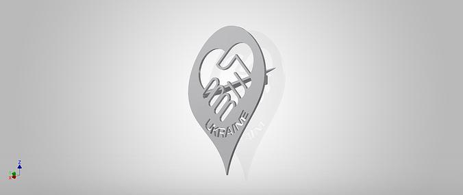 ukraine peace badge 3d model stl 1
