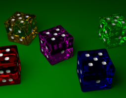 Glass Dice for Yahtzee 3D asset