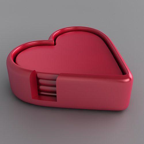 Heart Drinks Coaster Set Free 3d Model 3d Printable Obj Stl