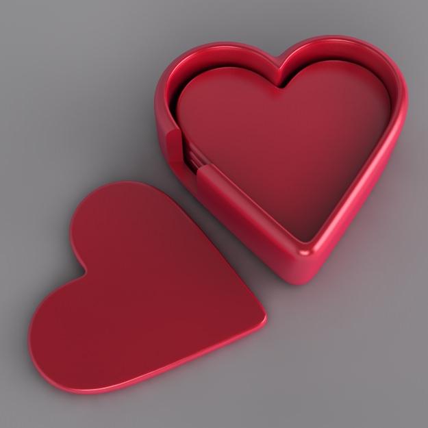 Heart Drinks Coaster Set Free 3d Model 3d Printable Obj