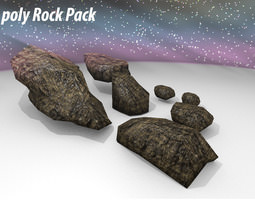 3d asset game-ready models stones collection
