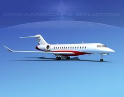 3d bombardier global 5000 v03 rigged