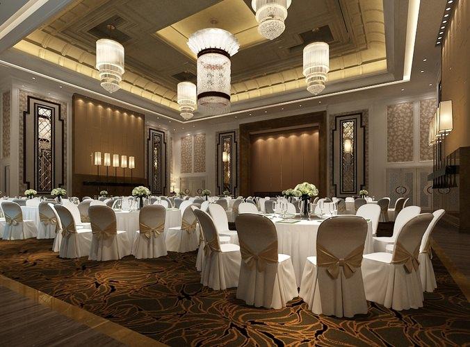 D Max Exhibition Hall : D model bar counter modern banquet hall cgtrader