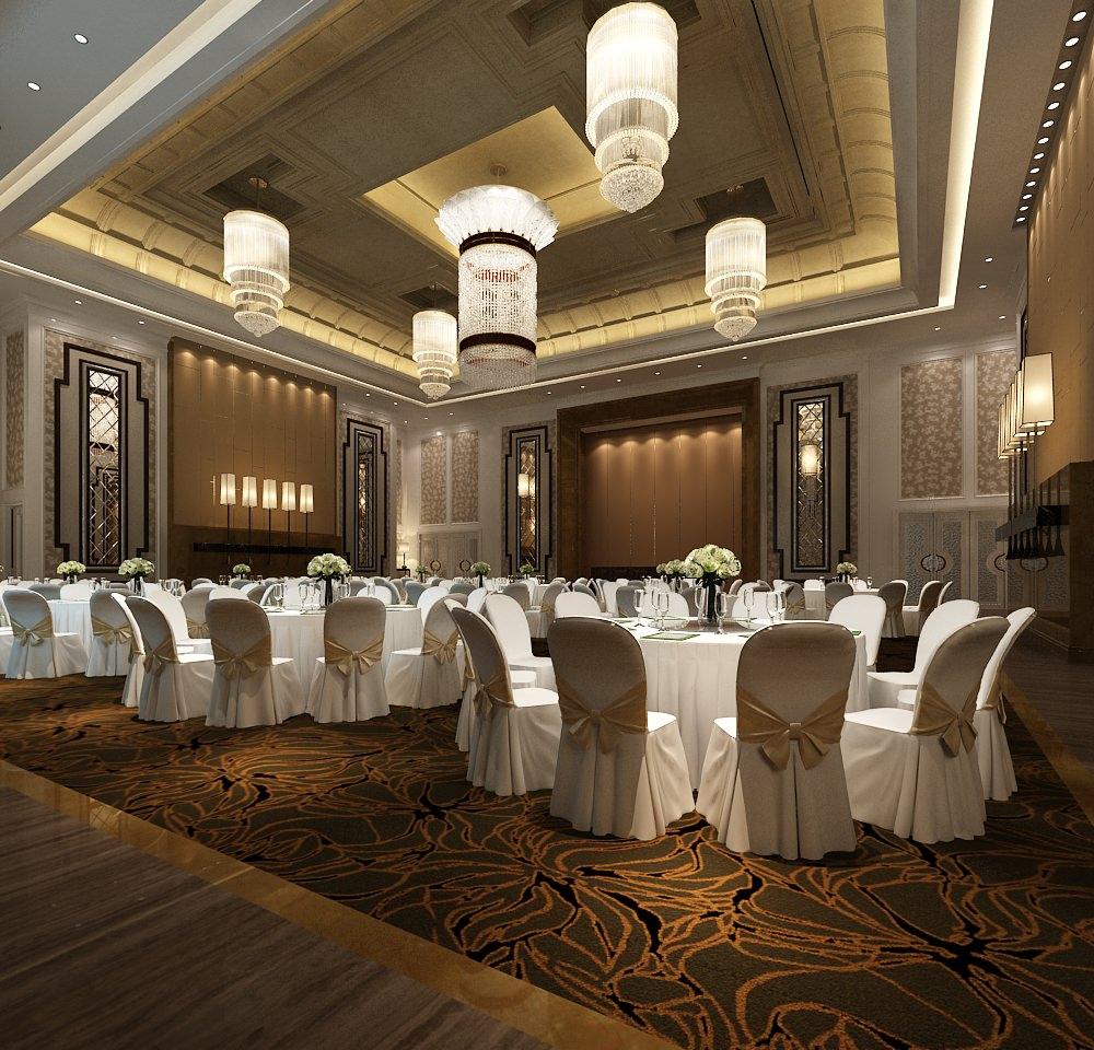 Banquet hall reception area download 3d house - Modern Banquet Hall 3d Model Max 1