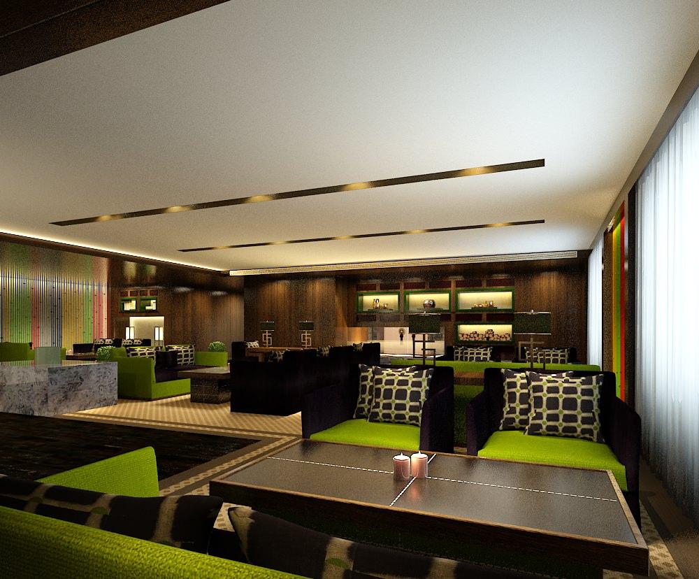 modern restaurant interior green 3d