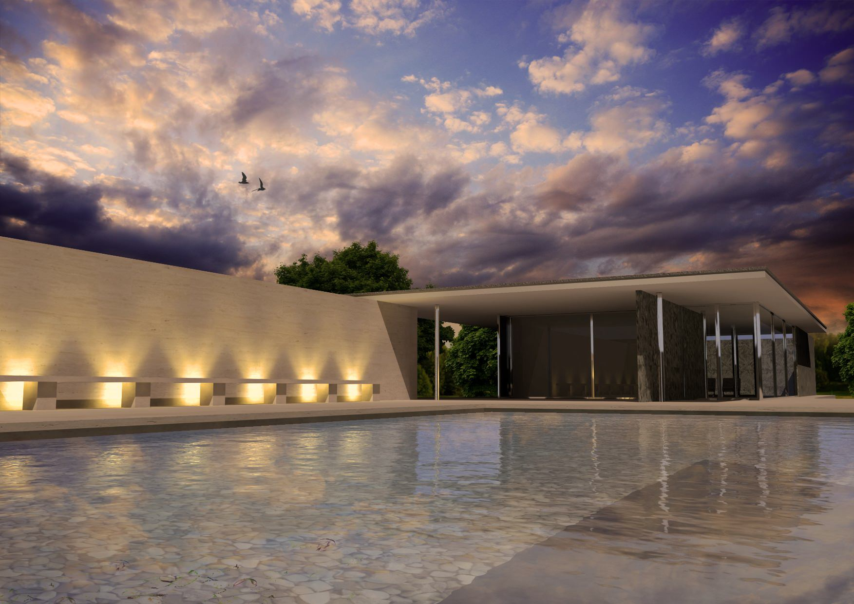 Barcelona pavilion exterior -  Barcelona Pavilion 3d Model 3d Model Max 4