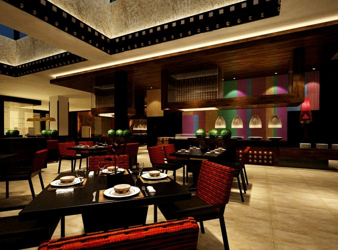Photo realistic restaurant interior d model cgtrader
