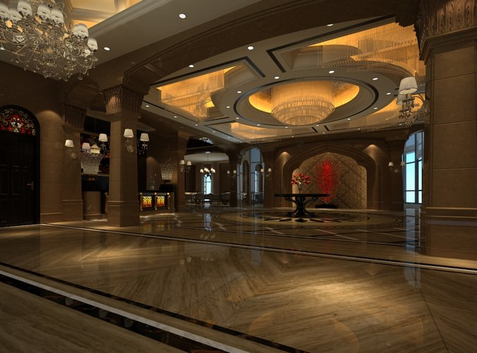 D Max Exhibition Hall : Modern luxury hall d model cgtrader