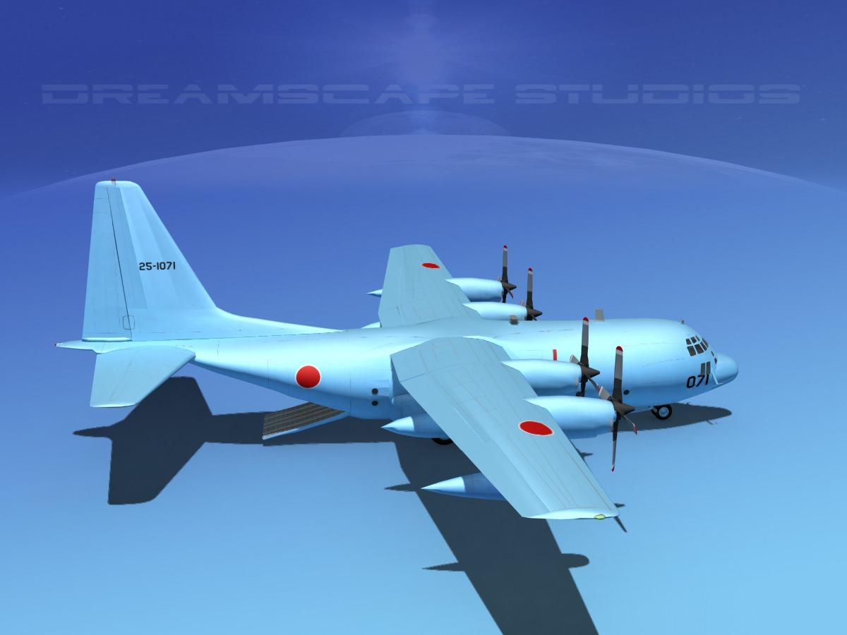 Lockheed C 130 Hercules Japanese 3d Model Rigged Max Obj
