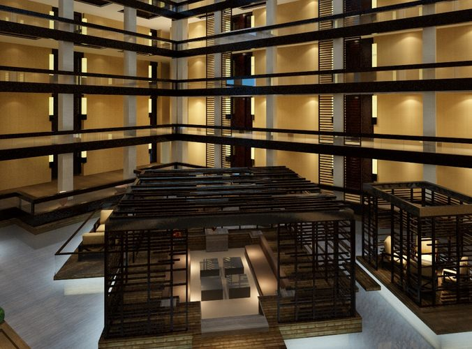 huge building hall with restaurant inside 3d model max 1