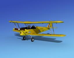 dehavilland dh82 tiger moth v05 rigged 3d model