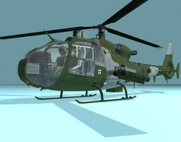 3D asset Gazelle British Army helicopter
