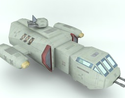 deep space freighter 3d model game-ready
