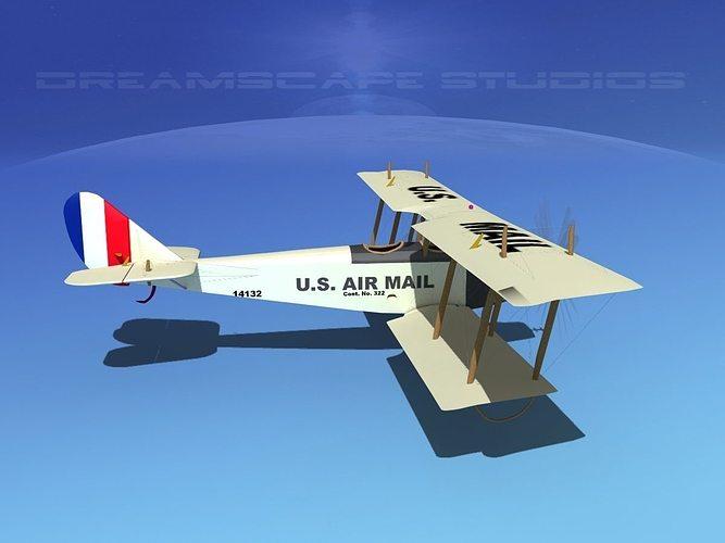 curtiss jn-2 jenny v07 us air mail 3d model animated max obj mtl 3ds lwo lw lws dxf stl 1