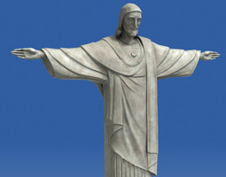 realistic christ redeemer statue 3d low-poly 3d model