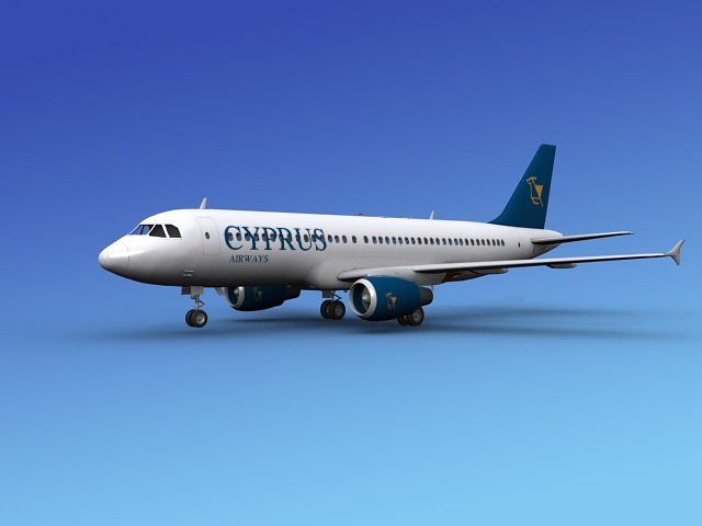 airbus a320 cyprus 3d model max obj 3ds dxf dwg 1