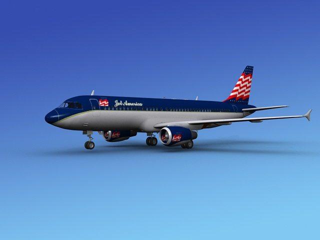 airbus a320 jet america 3d model max obj mtl 3ds dxf dwg 1