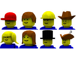 modular brick hats and hair poser 3d