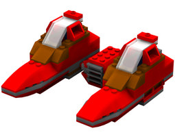 modular brick twin pod cloud car poser 3d rigged
