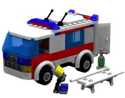 3D Modular Brick Ambulance Set Poser