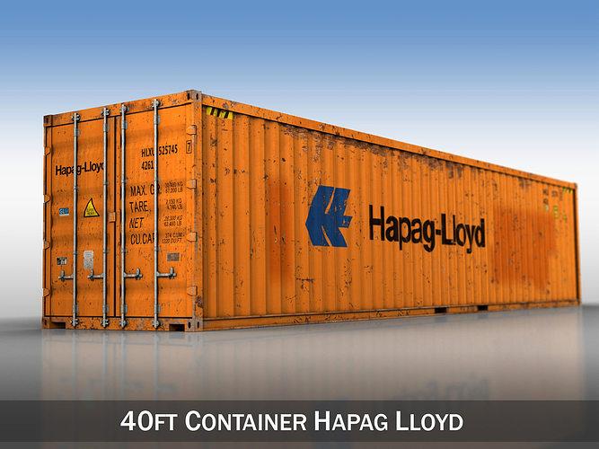 40ft shipping container - hapag lloyd 3d model obj 3ds fbx c4d lwo lw lws mtl 1
